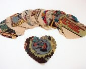 Recycled vintage comic book heart cutouts
