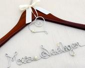 Bridal Hanger For Wedding Dresses, Personalized Wedding Hanger, Monogram or Heart Charm
