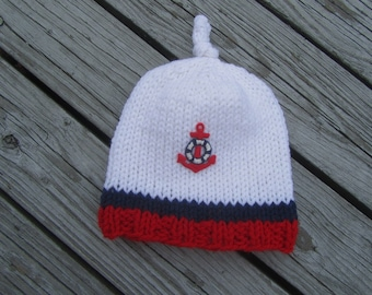 Sailor Hand Knit Baby Hat - Anchor Knitted Baby Hat, Red White Blue Knit Baby Hat