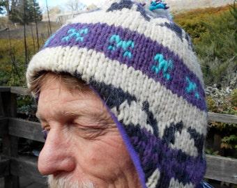 XL Purple and Vanilla Bolivian Wool Earflap Hat w Purple Fleece Lining