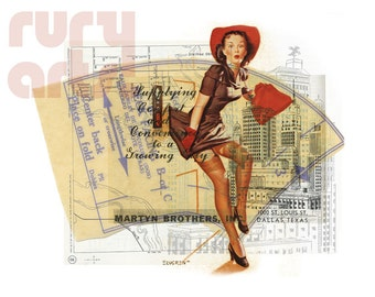 Dallas 1952: High Rise Gal - Giclée Print from Digital Collage