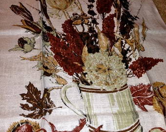Vintage New old stock Tea Towel Decorative fall flowers by KayDee Hand Printed