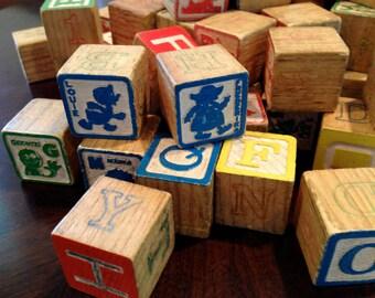 Wood Block vintage playskool alphabet and 12 disney rustic 1960 block letters