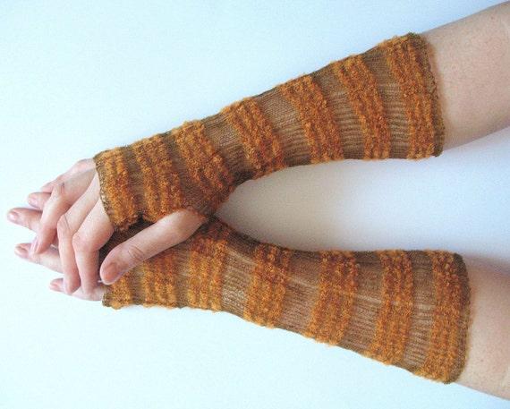 Long Wedding Brown Bridal Gloves Lace Gloves Fingerless