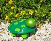 Ford Hubcap Art Turtle - Garden Art - Green - Critter Cap