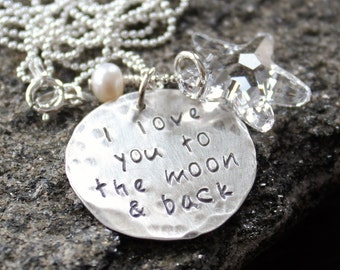 Love You To The Moon & Back Silver and Crystal Star Necklace, Love Message Necklace - Moon And Back Necklace