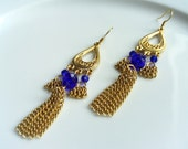 CLEARANCE SALE Was 12.00 Now 6.00 Cobalt Blue, Gold, Tasseled, Vermeil, Chandelier Earrings, Gifts for Her