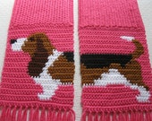 Knit Basset Hound Scarf. Pink knitted scarf with tri-color Basset dog. Long knit scarf