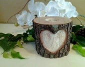 TREASURY ITEM - Tree branch candleholder - Heart candle -  Valentines day - Wedding candle - Unity candle - Anniversary - Memorial candle