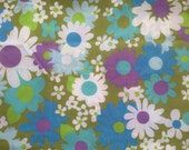 Vintage Sheet Green Blue Purple Floral