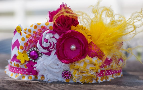Sunshine Birthday Crown Hot Pink and Yellow- Party Hat - Photo Prop -  Couture Crown - Princess Dress Up - Birthday Hat