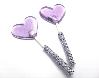 12 LAVENDER HEART LOLLIPOPS - Matching Faux Rhinestone Stick, Wedding and Bridal Lollipop Favors, Variety of Colors and Flavors