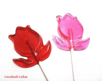 12  TULIP LOLLIPOPS - Pick Any Color and Flavor