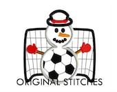 Soccer Snowman Applique and Machine Embroidery Digital Design File 4x4 5x7 6x10 7x11