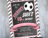 Girl Soccer Invitation Printable Birthday Party invitation by Luv Bug Design