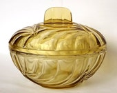 Yellow pressed glass lidded bowl, covered dish, art deco style