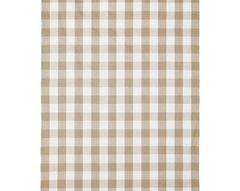 "Two  96"" x 50""  Custom Curtain Panels - 3"" Buffalo Large Checks Plaid - Beige/Tan/Light Taupe"