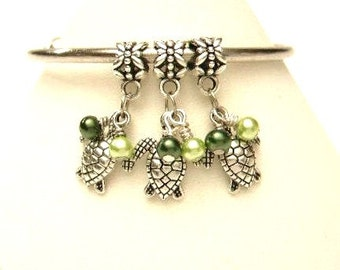 3 Turtle & Hand Wrapped Glass Pearls European, Slide Bracelet Dangle Charms,  Tibetan Silver  Beads, Euro Green