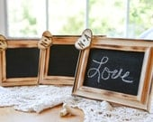 Set of 20 Custom Rustic Distressed Stand alone Wedding chalkboards wood heart engraved with bride and groom initials table numbers
