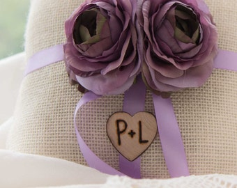 Shabby chic Burlap  Ring bearer pillow featuring purple silk ranunculus with Bride and Groom Initials over 60 flowers to select from!