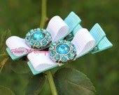 Baby Hair Bows Nr1015, Turquoise White, Baby Toddler, Hair Clips, Infant Newborn, Barrettes, Hairclips, Flower Girl Hair, Hair Stuff, Small