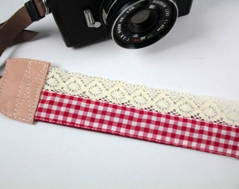 DSLR Camera strap (leather and webbing)---Lace style 16---lattice---red