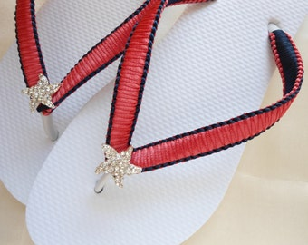 Unique Retirement gift for women, flip flops, Red Coral and Navy Blue, Teacher gift, nautical wedding, casual wedding, Custom Colors
