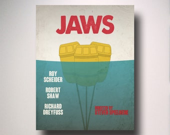 JAWS Inspired  Minimalist Movie Poster / Art / Movie Art / Alternative Movie Poster