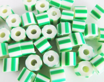 100 Vintage Green and White Striped Plastic Tube Beads Bd1138