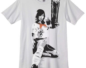 Japanese School Girl Machine Gun - Hand Airbrushed with stencils - grindhouse