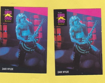 Lot of 2 identical Zakk Wylde trading cards published early 1990's