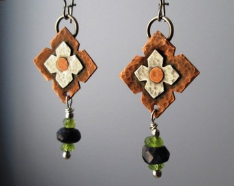Mixed Metal Sterling Silver and Copper Blue Spectrolite and Peridot Medieval Riveted and Hammered Dangle Earrings Jewelry