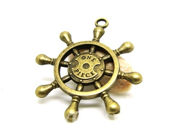 Antique Bronze Tone Rudder Or Helm With Word One Piece Charms 39x34mm - 10Pcs - DC00131