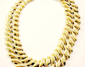 gold monet necklace, bib, statement,  vintage, chunky, designer collectible