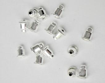 silver earring backs, 6mm barrel stoppers, 30pcs