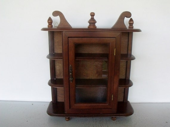 vintage display cabinet wood glass curio case by ktsattic on etsy. Black Bedroom Furniture Sets. Home Design Ideas