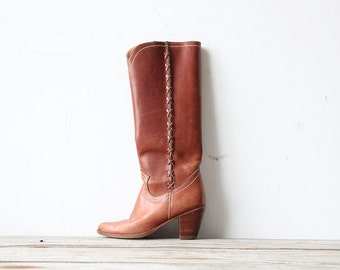 Chestnut Leather Campus Boots.  Size 6