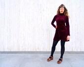 Vintage embossed velvet dress maroon dress red dress minidress