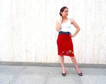 Red pencil skirt felt embroidery