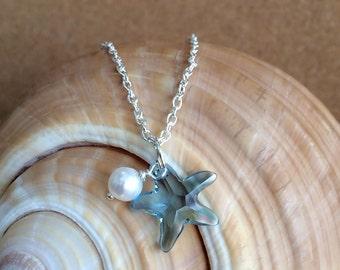 SWAROVSKI STARFISH Pendant w/ Freshwater Pearl - Silver Necklace - Swarovski Aqua Crystal - Beach Wedding - Bridesmaid - Choose Length - USA