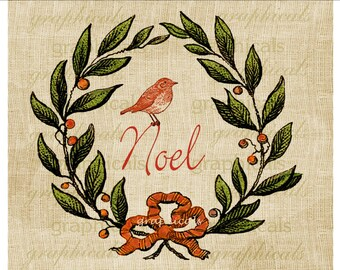 Christmas berry wreath Noel Red bird Digital download image for iron on fabric transfer burlap decoupage paper pillows tags Item No 1896