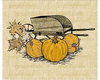 Autumn pumpkin Wheelbarrow farm instant digital download image for iron on fabric transfer decoupage paper burlap pillows tote bags No. 2152
