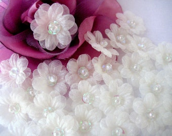 Ivory Organza Flower Appliques 2 layered Sequin, Beads Center for Sewing, Crafting, Doll Clothing, Princess Dress - 1 inch / 25 mm, 20 pcs