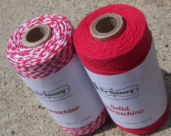 Twinery Bakers Twine - 100% Cotton - New Solids with Matching Twist Two Pack - Two Colors - Your Choice of Total Amount