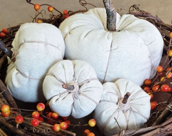 4 fabric pumpkins, stuffed pumpkins, decorative pumpkin, natural pumpkin, halloween decor, thanksgiving decoration, autumn decor, fall decor