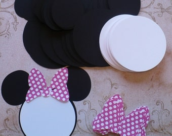 25 Black Minnie Mouse Head Shapes White Circle Shapes Hot Pink Polka Dot Bows- Die Cut pieces for DIY Birthday Party Invitations
