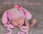 Baby Girl Hat -  Baby Bunny Hat  - Baby Hat Pink, Lavender & Grey Earflaps and Ribbon