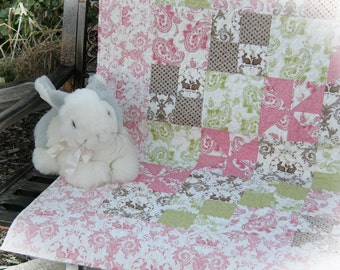 """Shabby Chic Little Girl Quilt, Toddler Quilt, Lap Quilt, Wall Hanging """"Bunny Hill"""""""