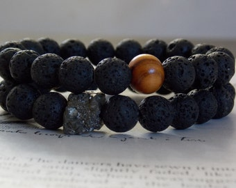 Lava and Pyrite, Fire and Earth, Beaded Stacking Bracelet, Organic, Modern, Minimalist, Unisex