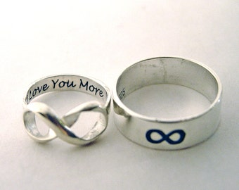 His and hers, Infinity ring set, always and forever, Rings for two, custom personalized, inscribed engraved, wedding rings, couples ring